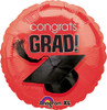 "17"" Congrats Grad (Graduation) Hat Red Foil Balloon"