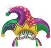 "38"" Mardi Gras Mask Holographic Mylar Foil Balloon"