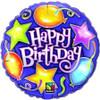 """18"""" Birthday Stars & Balloons Mylar Foil Balloon"""