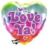 "18"" Tie Dye Love Ya! Mylar Foil Balloons"