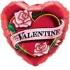 "18"" For My Valentine Roses Mylar Foil Balloon"