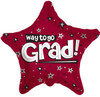 "18"" Way To Go Grad Stars Burgundy Mylar Foil Balloon"