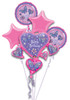 Five Balloon Princess Sparkle Birthday Bouquet Mylar Foil Balloons