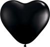 "Heart  6"" Jewel Onyx Black Latex Balloons"