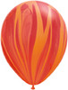 "Round 11"" Red Orange Rainbow SuperAgate Latex Balloons (51752)"