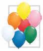 """Round  9"""" Standard Assortment with White Latex Balloons (43693) - 100 Ct"""