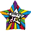 "18"" Congrats Grad Stars In Stripes Mylar Foil Balloon"