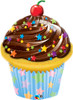 "35"" Birthday Chocolate Cupcake Shape Mylar Foil Balloon"