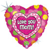 "18"" Love You Mom Polka Dots Mylar Foil Balloon"