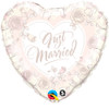 "18"" Just Married Roses Mylar Foil Balloon"
