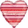 "18"" Stripes I Love You Mylar Foil Balloon"
