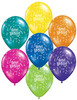 "11"" Birthday Stars and Balloons Fantasy Assortment Latex Balloons"