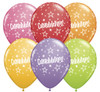 "11"" Congratulations Star Pattern Festive Assortment Latex Balloons"