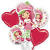5 Balloon Strawberry Shortcake Bouquet Combo Mylar Foil Balloon