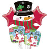 5 Balloon Holiday Snowman Bouquet Combo Mylar Foil Balloon