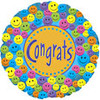 "18"" Congrats Smiley Face Mylar Foil Balloon"