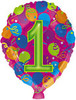 """18"""" Balloon Shaped """"1"""" Mylar Foil Balloon"""