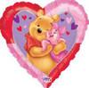 "34"" Piglet & Pooh Valentine Heart Mylar Foil Balloon"