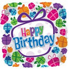 "18"" Presents Happy Birthday Square Mylar Foil Balloon"