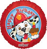 "18"" Happy Birthday Fire Dalmation Mylar Foil Balloon"