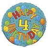 "18"" Happy 4th Festive Birthday Mylar Foil Balloon"