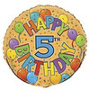 "18"" Happy 5th Festive Birthday Mylar Foil Balloon"