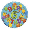 "18"" Happy 6th Festive Birthday Mylar Foil Balloon"