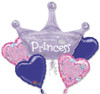 5 Balloon Princess Birthday Bouquet Combo Mylar Foil Balloon