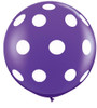 "36"" Round Big Polka Dots On Purple Violet Latex Balloon"