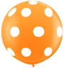 "36"" (3') Round Big Polka Dots On Standard Orange Latex Balloon"