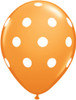 "11"" Big Polka Dots Standard Orange Latex Balloons"