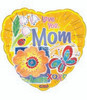 "18"" Happy Mother's Day Springtime Yellow Mylar Foil Balloon"