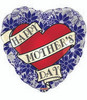 "18"" Happy Mother's Day Tattoo Blue Heart Mylar Foil Balloon"