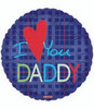 "18"" I Love You Daddy Father's Day Mylar Foil Balloon"