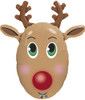 "36"" Red-Nosed Reindeer Shape Mylar Foil Balloon"