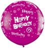 "36"" Birthday Stars and Swirls Wild Berry Latex Balloons"