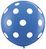 "36"" Big Polka Dots on Standard Dark Blue Latex Balloons"