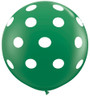 "36"" Big Polka Dots on Standard Green Latex Balloons"