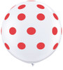 "36"" Big Standard Red Polka Dots on White Latex Balloons"