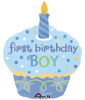 "29"" Cupcake Sweet 1st Birthday Boy Shape Mylar Foil Balloon"