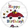 """18"""" Birthday Car & Presents   Mylar Foil Balloon"""