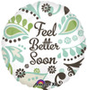 "18"" Feel Better Soon Teal Brown   Mylar Foil Balloon"