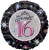 "18"" Sweet 16 Sparkles   Mylar Foil Balloon"