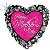 "18"" Mother's Day Damask Heart   Mylar Foil Balloon"
