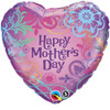 "18"" Mother's Day Filligree Heart   Mylar Foil Balloon"
