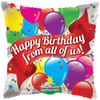 """18"""" Birthday From All Of Us   Mylar Foil Balloon"""