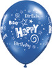 "11"" Birthday Stars and Swirls Standard Dark Blue Latex Balloons"