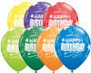 "11"" Birthday Loops & Stars Carnival Assortment Latex Balloons"