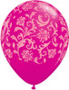 "11"" Damask-A-Round Wild Berry Latex Balloons"