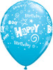 "11"" Birthday Stars and Swirls Fashion Robin's Egg Blue Latex Balloons"